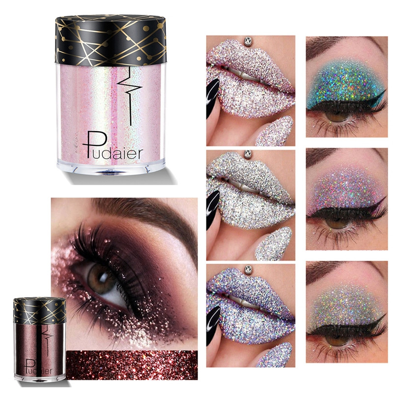 Qibest 30 Color Glitter Powder Eyeshadow Cosmetics Colorful Party Makeup Sexy Lips Eye Loose Metal Eye Shadow Blue Silver Beauty & Health Beauty Essentials