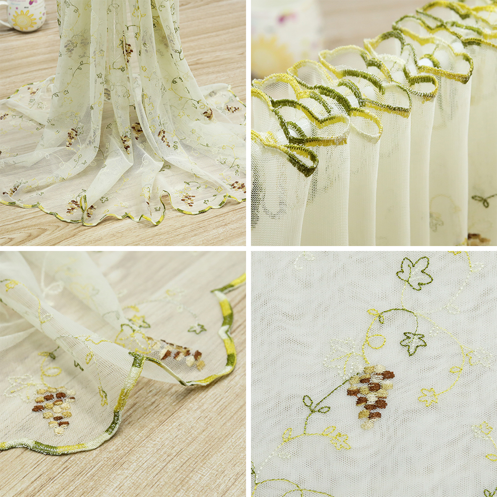 Cafe Curtain Half curtain Grapes Window Voile Valance Embroidered ...