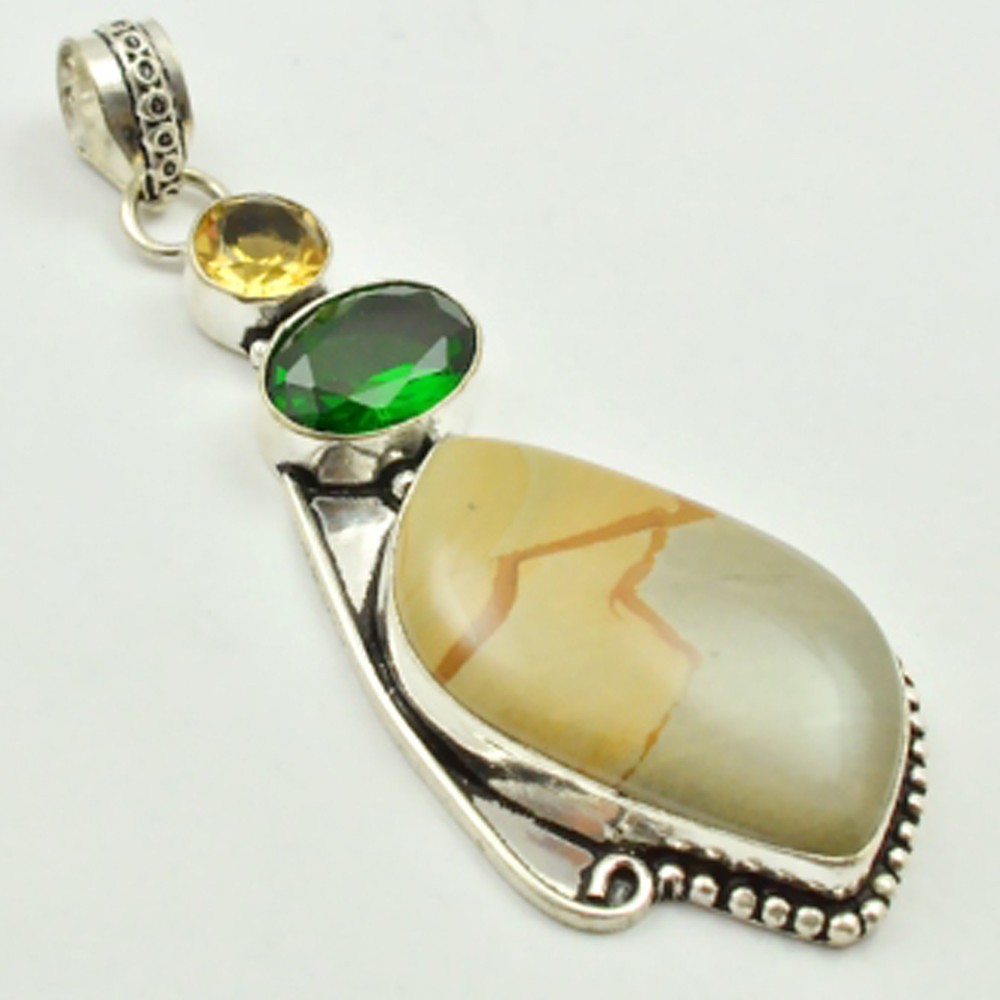 Picture Jaspers & Green Quarts Pendant Silver Overlay over Copper , 72 mm, P3192