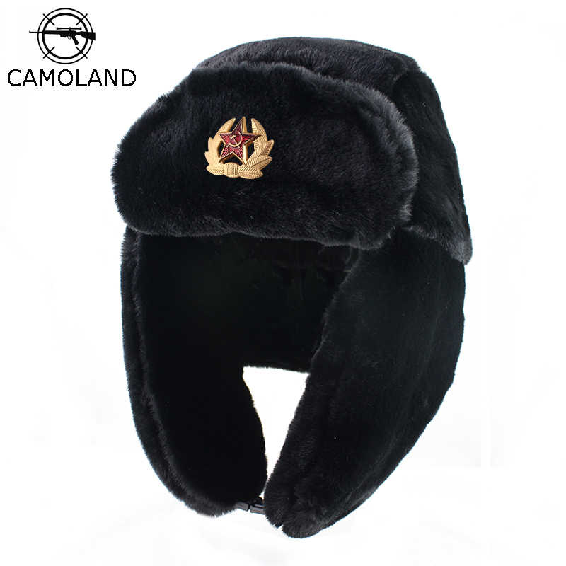 Soviet Trapper trooper Hat Army Military Russia Ushanka Winter Bomber Hats  Pilot Faux Rabbit Fur Earflap 6c6ede7de271