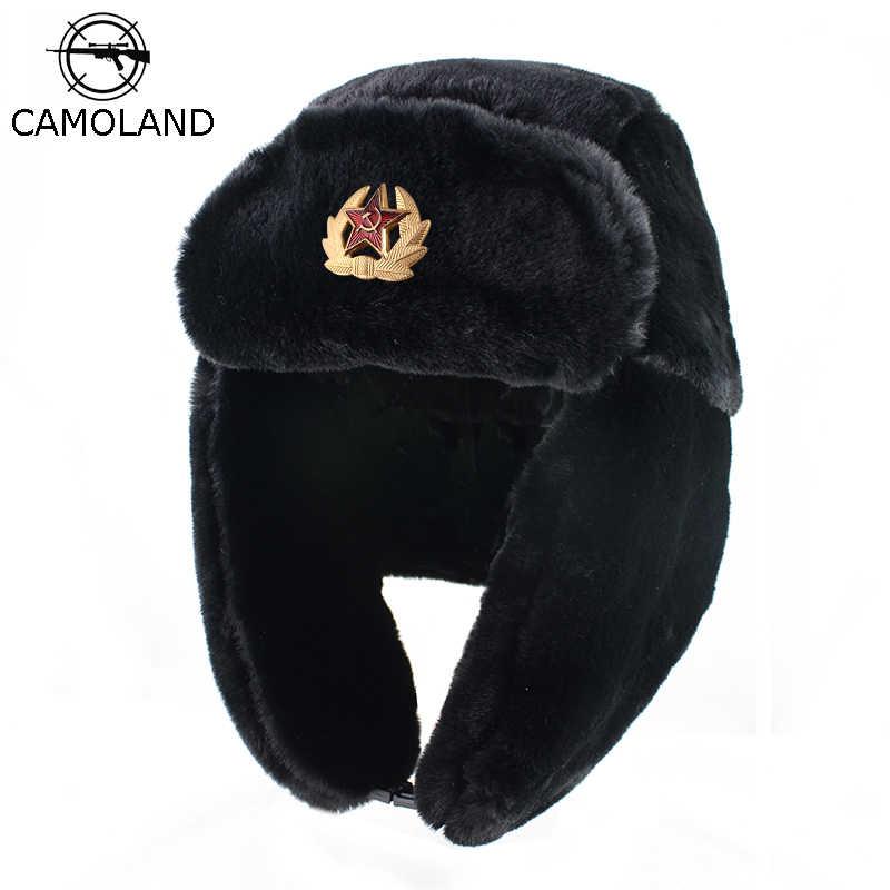 a7ef8fd900be5 Soviet Trapper trooper Hat Army Military Russia Ushanka Winter Bomber Hats  Pilot Faux Rabbit Fur Earflap