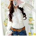 2016 Роскошный Викторианский Топы Женщин Рубашка Оборками Метаться Дамы Блузки Топ Белая Рубашка для женщин Высокого Качества