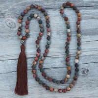 EDOTHALIA belle 8MM mat pierre naturelle nouée 108 Mala perles colliers pour femmes filles Yoga Bijoux Bijoux livraison directe