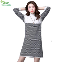 KULAZOPPER Women Sweater Winter Thicken Knitted Pullover Coat Casual Solid Loose Plus Size For Female Striped