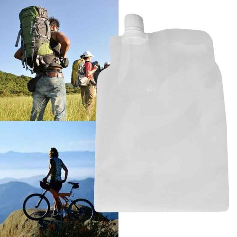 Outdoor 2L Transparan Dilipat Air Bag Camping Hiking Ember Hambar Keselamatan Segel Folding Penyimpanan Air Minum Tas
