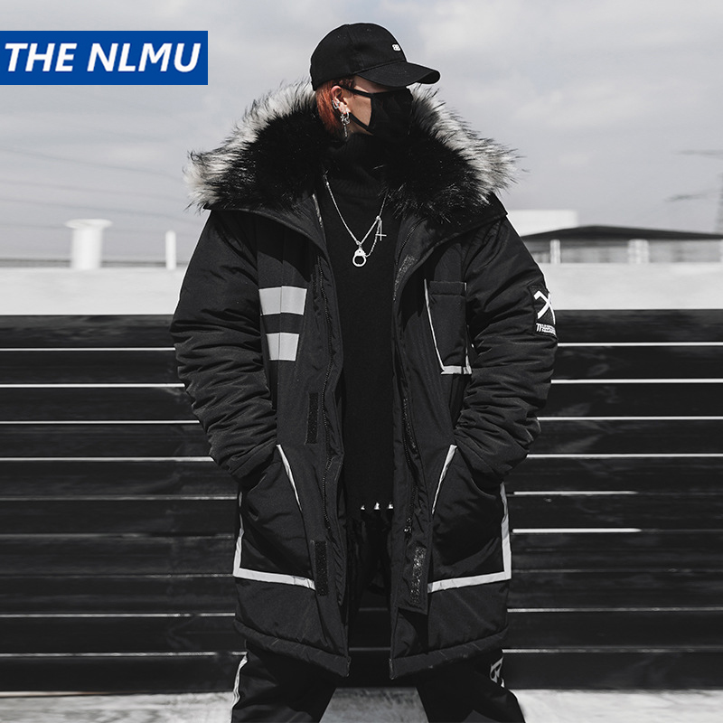 Black Winter Thick Jacket   Parkas   Men Hooded Fur Collar Coats   Parka   Streetwear Mens Hip Hop Long Warm Windbreaker Coats WJ091
