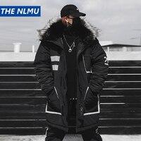 Black Winter Thick Jacket Parkas Men Hooded Fur Collar Coats Parka Streetwear Mens Hip Hop Long Warm Windbreaker Coats WJ091