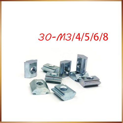 35pcs/lot T Sliding Nut Block Square nuts M4 M5 M6 m8 for 3030 Aluminum Profile Slot 6 Aluminum connector Accessor
