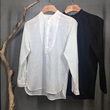 Mens Casual Shirt Long Sleeve Basic White Black Linen Cotton Chinese Japanese Traditional Style Kung Fu Tai Chi Zen M1145 Nakali
