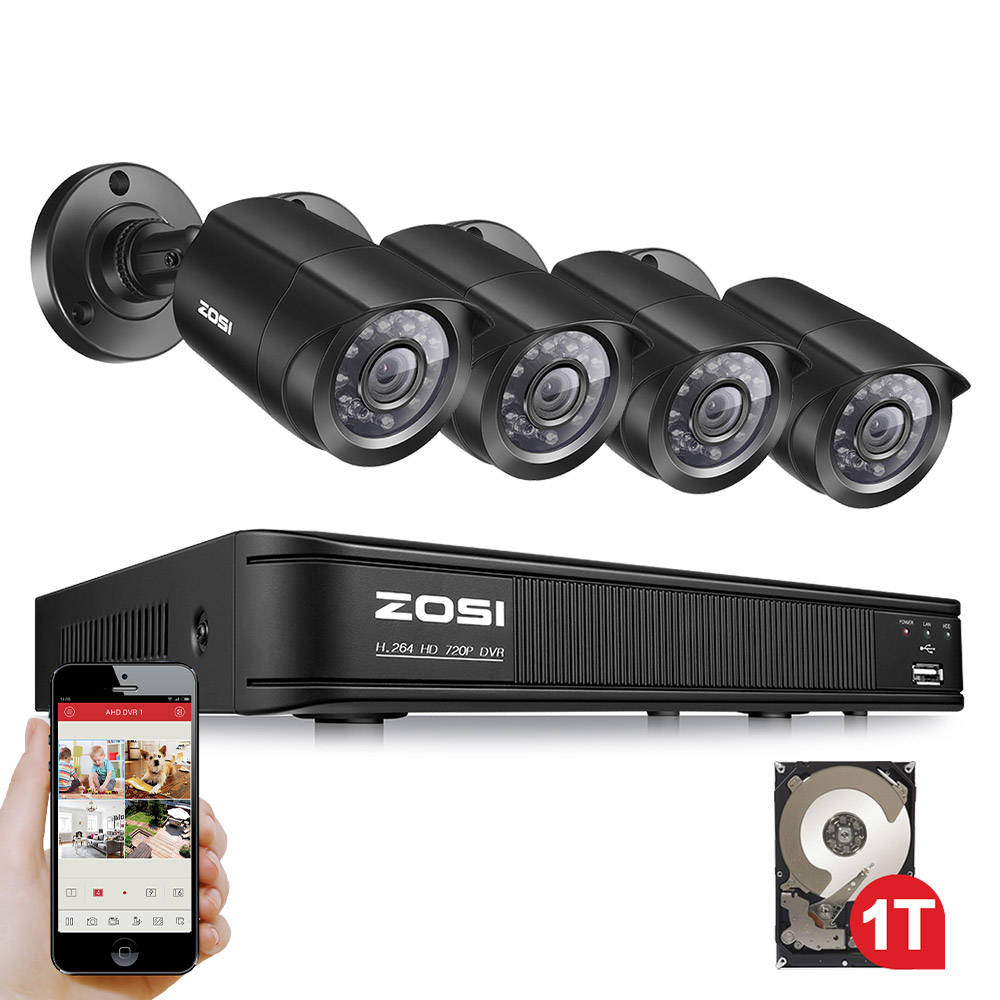 ZOSI 8CH CCTV System 8 Channel 720P DVR 4PCS 1280TVL IR Home Security Camera System Surveillance Kits
