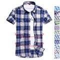 Новый 2016 Британский стиль высокое качество 19 цвета клетчатую рубашку мужчины простой матч повседневная хлопок футболки slim fit с коротким рукавом рубашки мужчины