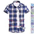 New 2016 British style high quality 19 colors plaid shirt men easy-match casual cotton shirts slim fit short sleeve shirt men