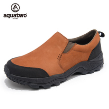 Hot Sale 2016 AQUA TWO Outdoor Shoes Breathable Shoes Men Trekking Walking Genuine Leather Shoes US6.5-11.5# Slip On Shoes Men