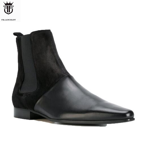 2019 FR.LANCELOT Brand Black Soft Genuine Leather High Top Men Boots Elastic band Chelsea Boots Flats Shoes Mens Zapatillas2019 FR.LANCELOT Brand Black Soft Genuine Leather High Top Men Boots Elastic band Chelsea Boots Flats Shoes Mens Zapatillas