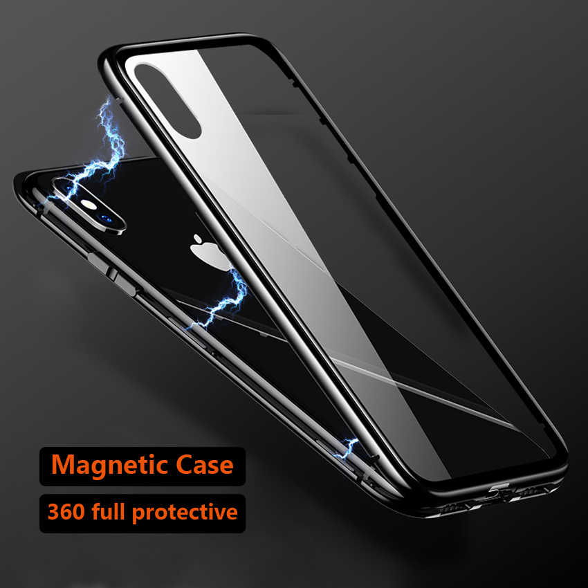 411ae261adf Magnetic Adsorption 360 Full Case For iPhone X 7 8 Plus 6 Plus Tempered  Glass Back