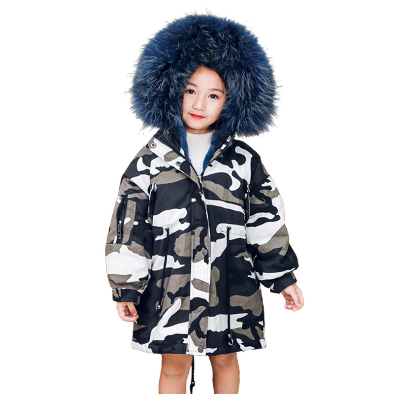 2018 Winter Boys Girl Knee-length Camo Jacket Real Rex Rabbit Fur Girl Long Fur Parkas Warm Detachable Fur Coat Toddle Outerwear new russia fur hat winter boy girl real rex rabbit fur hat children warm kids fur hat women ear bunny fur hat cap