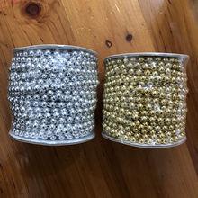 25 Meters/Roll 6mm Half Round Flat Back Plastic Pearl Trim String Trim Chain Sew Golden / Silver VX13