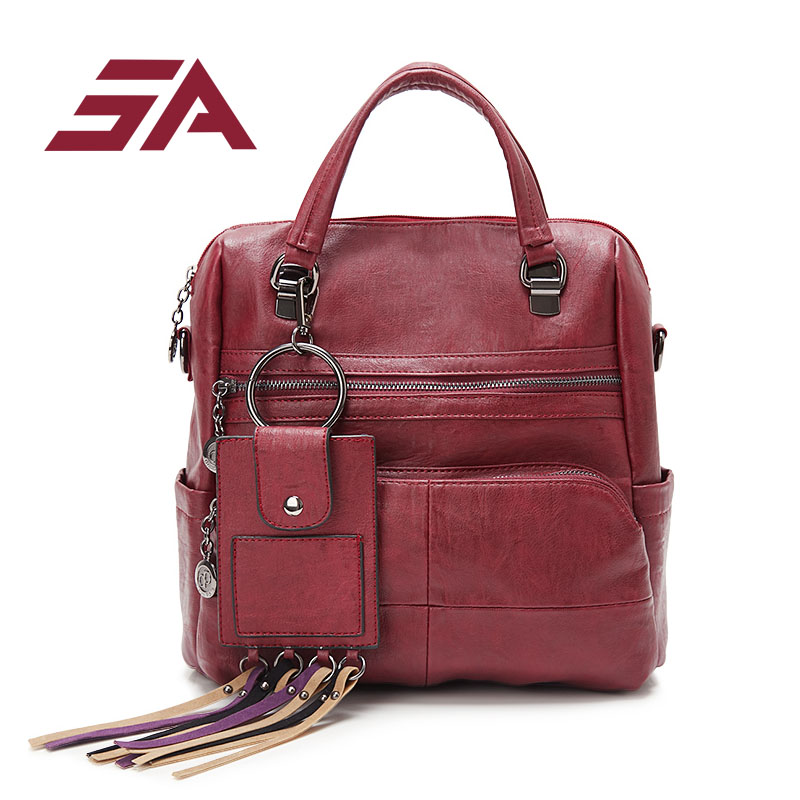 Sa New Arrival Fashion Backpacks Multi Pocket For Women Pu Leather Backpack Travel School Bag Female Bag Tassel Card Pocket