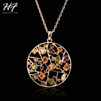 Top Quality N048 Multi Flowers Necklace 18K Rose Gold Plated Fashion Pendant Jewelry Made With Crystal