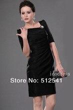 Top grade Mother of the Bride Dresses Black Cap short-sleeves Square-neck Sheath Above Knee-length Ruffle yk-8B06