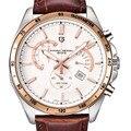 Relojes deportivos militar hombres clásico reloj de cuarzo ocasional impermeable de cuero genuino reloj de pulsera de lujo marca pagani design original