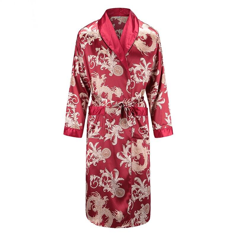 New Long Sleeve Robe Satin Sleepwear Print Dragon Phoenix Kimono Bathrobe Gown Men's Casual Home Clothes Loose Pajamas L-XXL