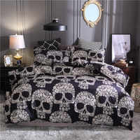 Bonenjoy Black Color Duvet Cover Queen Size Luxury Sugar Skull Bedding Set King Size 3D Skull Beddings and Bed Sets