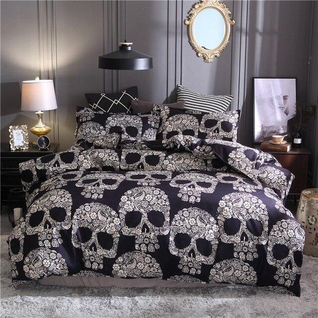 Bonenjoy Màu Đen Duvet Cover Nữ Hoàng Kích Thước Sang Trọng Đường Skull Bộ Đồ Giường Thiết Lập Kích Thước Vua 3D Skull Chăn và Giường Bộ