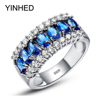 90 OFF YINHED 100 Authentic 925 Sterling Silver Rings For Women Wedding Jewelry Fashion Blue Zircon