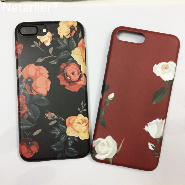 Netarlier Luxuxy Case For iPhone 7Plus 5.5inch Vintage Flowers Patterned Black TPU Soft Matte Retro Floral Phone Back Case Cover