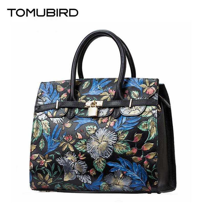 TOMUBIRD new Superior cowhide leather Classic Ladies Hand Embossed Tote Shoulder Handbags women Genuine Leather bag classic black leather tote handbags embossed pu leather women bags shoulder handbags elegant