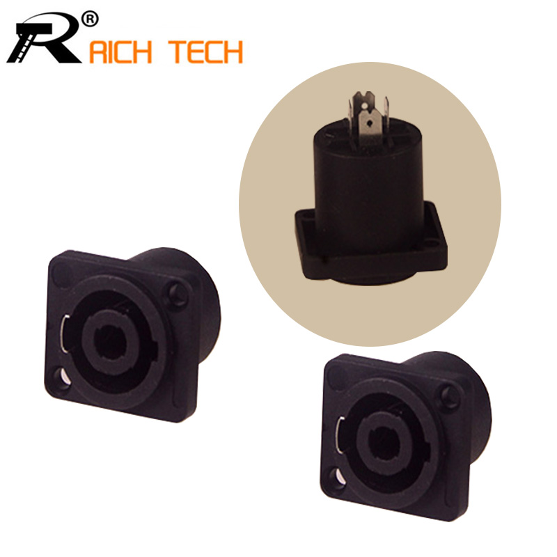 R Connector quality Black Powercon 4 Pin Female Jack Compatible Audio Cable Connectors 3pcs/lot 5 sets 3 pin powercon power connector male female powercon type a nac3fca nac3mpa 1 chassis panel mount 3 pin speakon connector