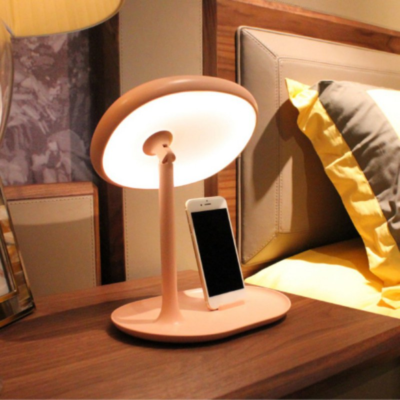 Creative Makeup Mirror Lamp USB Rechargeable  Dimming Mirror Lamp With Mirror& Phone Bracket Bedside Table Lamp mirror mirror