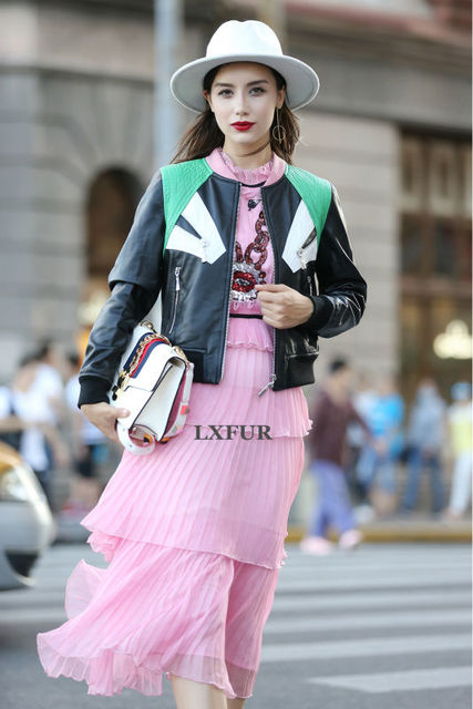 2017 Para Mujer de Cuero Genuino de las Ovejas Corto Abrigos Ladies Real de Adelgazamiento De Cuero Chaquetas de Cuero Negro Streetwear Cuello Redondo LX00880