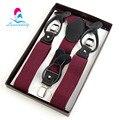 NBD9109 Vermelho Escuro 3 clipes suspensórios de casamento elástico, botão de couro genuíno Dual-uso cinta para homem 120 cm comprimento frete grátis