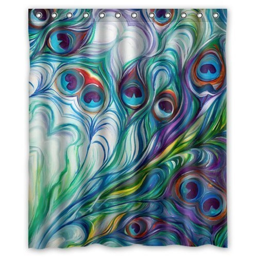 Flawless peacock feathers watercolor painting bathroom shower curtain shower rings included china mainland