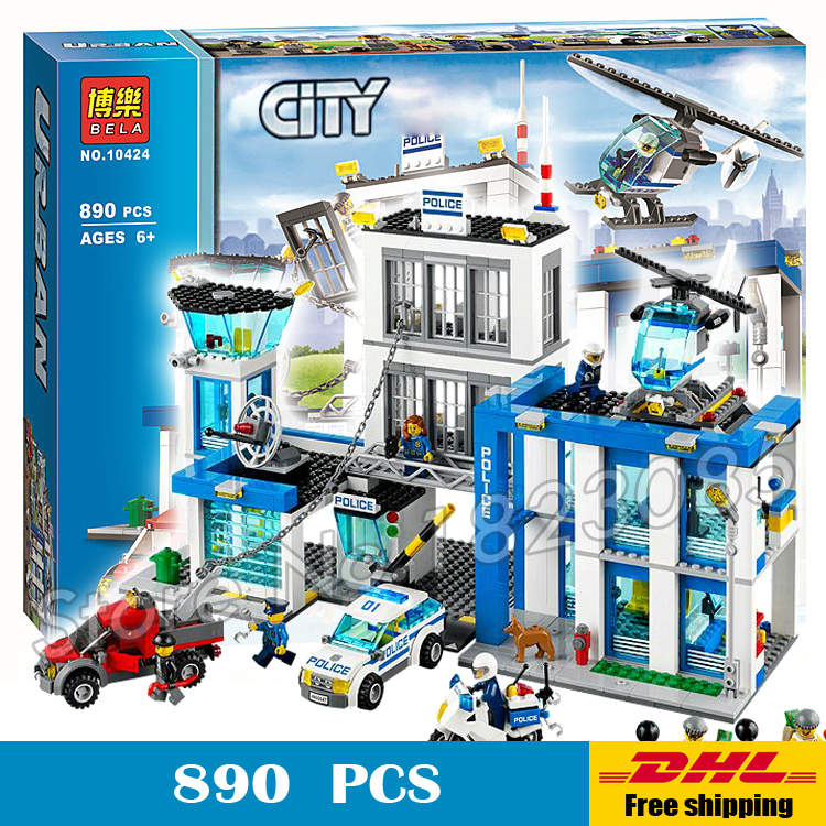 ФОТО 890pcs 2016 BELA 10424 City Police Station building blocks Action Model Toys helicopter jail cell Compatible with Lego