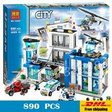 890 sztuk 2016 station building blocks bela 10424 miasto policja działania modelu zabawki śmigłowca więzienia cell kompatybilny z lego