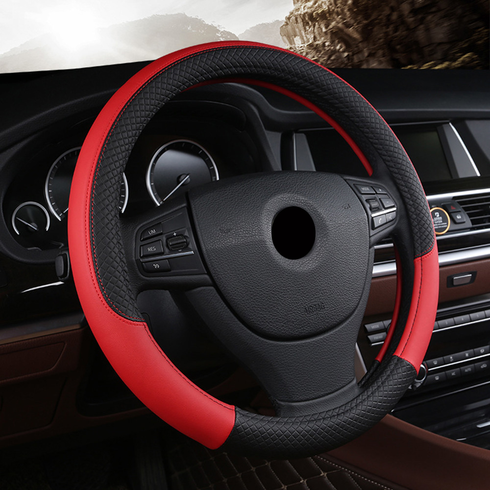 Car Steering Wheel Cover Fit For Most Cars Styling 38cm  Hand stitched PU leather Car steering wheel-in Steering Covers from Automobiles & Motorcycles