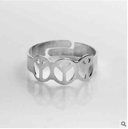 Europeus e Americanos moda jóias sinal de paz jóias anel anel de moda jóias anel de casal aberto acessórios fábrica de jóias