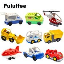 Cartoon Car mini bus plane helicopter Big Particles Vehicle Building Blocks accessory DIY Toys Compatible with Duplo Bricks Set