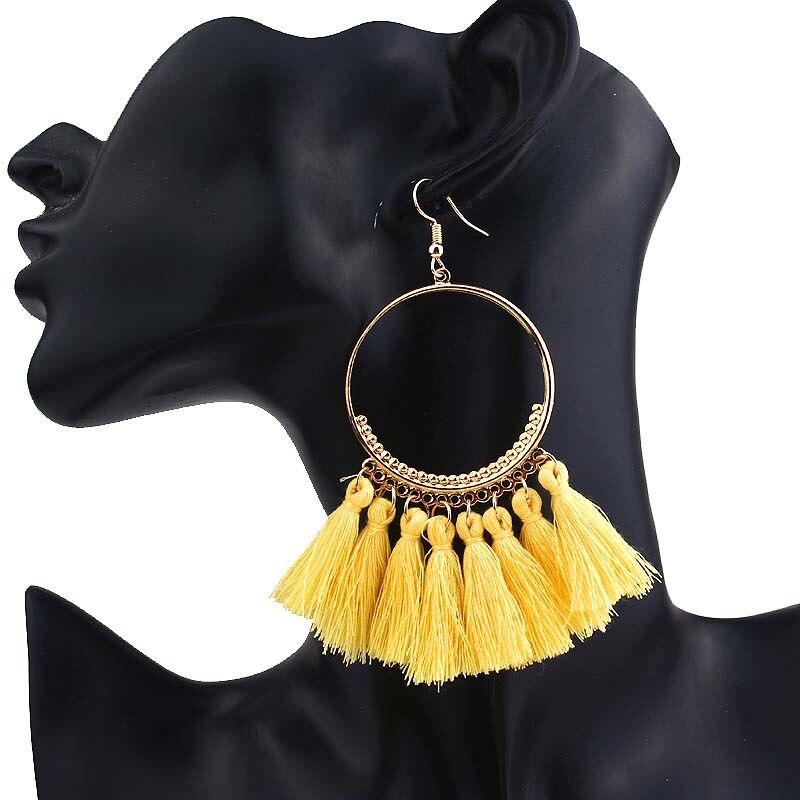 2019 New Fashion Bohemian Tassel Gold Metal Long Earrings White Red Silk Fabric Drop Dangle Tassel Earrings for Women Jewelry 4