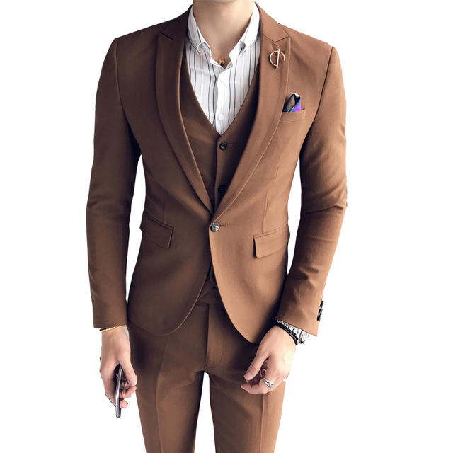 Groom Brown Suit Spring Coffee Back Calca Skinny Masculina Clothing Dress Suits Ceremony Prom Male