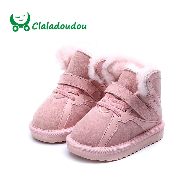 894001738b1 Claladoudou 13.5-21.5CM Brand 2018 Winter Toddler Baby Girl Snow Boot Child  Fashion Genuine Leather Fur Warm Kid Ankle Boots