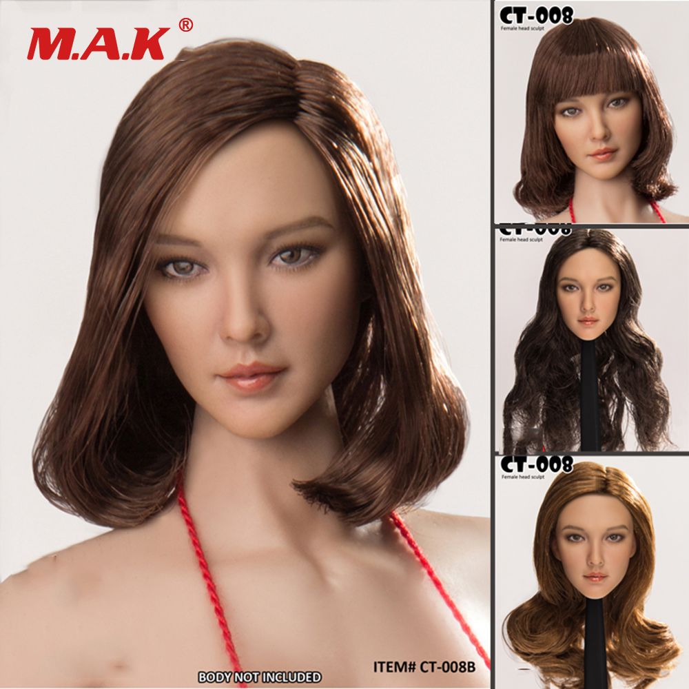 1/6 Scale Asian Beauty Female Head Sculpt with Long/Short Curls Hair Head Carved CT008 4 Styles for 12 PH Body Action Figure1/6 Scale Asian Beauty Female Head Sculpt with Long/Short Curls Hair Head Carved CT008 4 Styles for 12 PH Body Action Figure