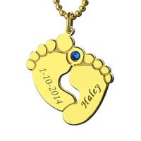 Groothandel Naam & Datum Baby Voeten Moeder Ketting Goud Kleur Geboortesteen Footprint Charm Viering Voor Nieuwe Baby