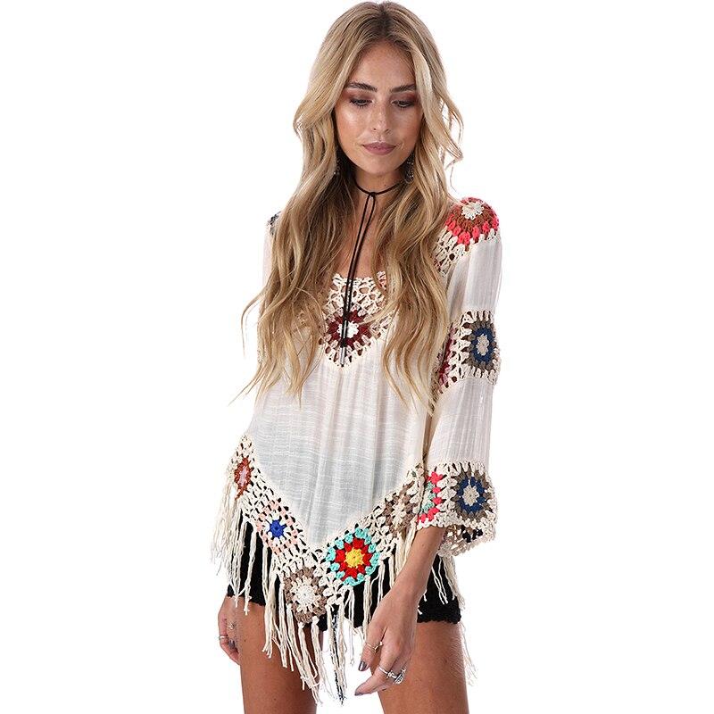 Boho Women Chiffon Lace Embroidery Blouse Shirt Vintage