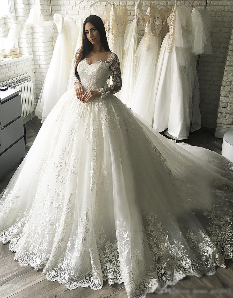 64e6ba3387884 ZL1037 New Gorgesous Long Sleeves Ball Gown Lace Wedding Dresses ...