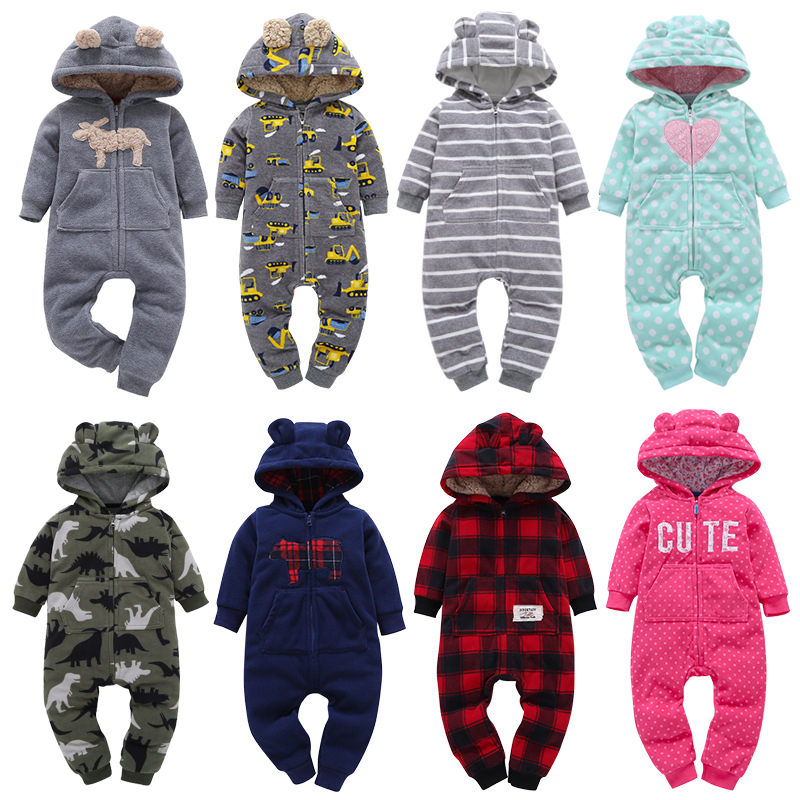 2019 Unisex New Born Baby Romper For Girl Long Sleeve Baby Boy Clothes Winter Christmas Toddler Jumpsuit Zipper Infant Costume