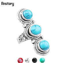 Fashion Jewelry Vintage Look Tibet Alloy Antique Silver Plated Fantastic Three Turquoise Rings TR198D